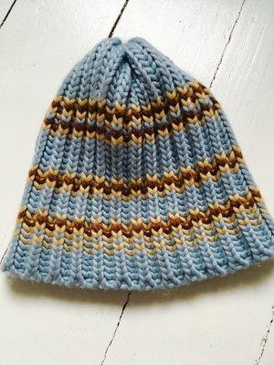 Cappello a maglia azzurro-color cammello Acrilico