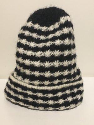 H&M Chapeau en tricot noir-blanc laine