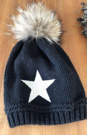 Sombrero de punto negro-beige tejido mezclado