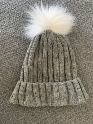 Primark Knitted Hat grey-white