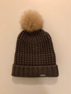 Woolrich Knitted Hat grey brown-brown wool