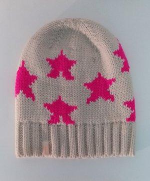 Beanie natural white-pink polyacrylic