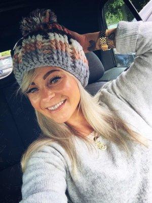 ⋙•-•-•-•➤Strickmütze NEU Blogger Mütze Häkelmütze Pudelmütze Bommel Tricolor warm & kuschelig