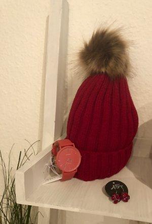 Strickmütze rot mit Bommel Mütze mit Innenfutter