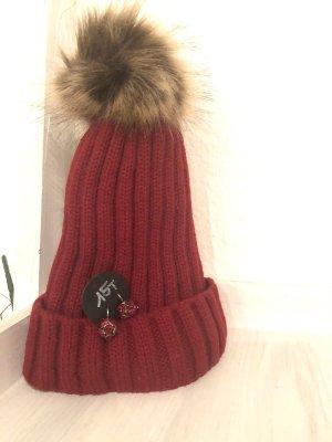 Strickmütze rot mit Bommel und Innenfutter Mütze Kappe