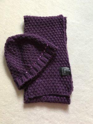 Strickmütze / Schal lila mit Pailletten violett
