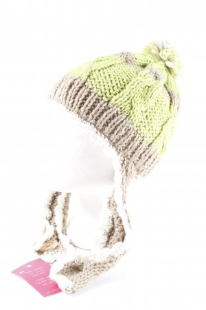 Knitted Hat striped pattern Lace detail
