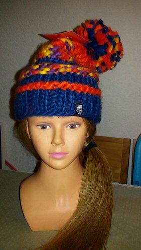 The North Face Sombrero de punto naranja-azul