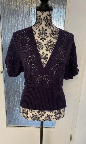 Short Sleeve Knitted Jacket dark violet