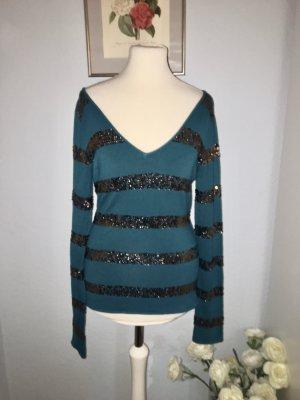 Haut tricotés bleu pétrole-bronze