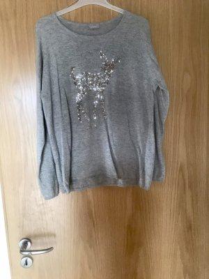 Canda Premium Kraagloze sweater lichtgrijs-zilver