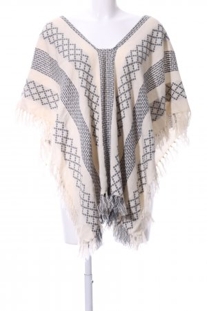 Strickponcho creme-hellgrau grafisches Muster Casual-Look