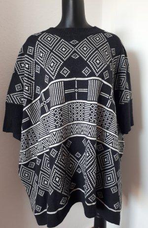 H&M Poncho en tricot blanc-gris anthracite