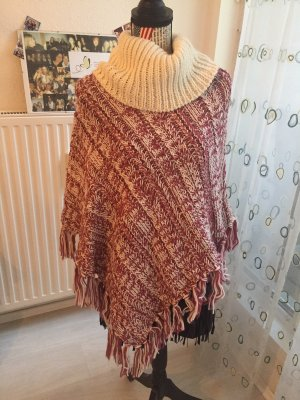 Knitted Poncho raspberry-red-natural white