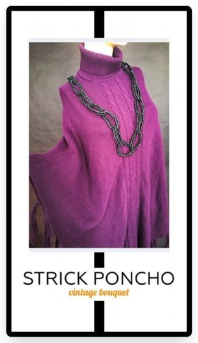 Knitted Poncho multicolored cotton