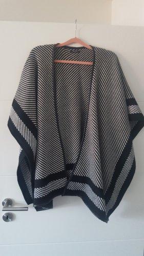 Promod Poncho en tricot noir-blanc acrylique