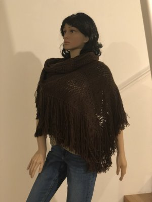 Suel Knitted Poncho black brown wool