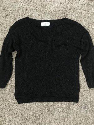 Sweter bez rękawów z cienkiej dzianiny czarny-srebrny