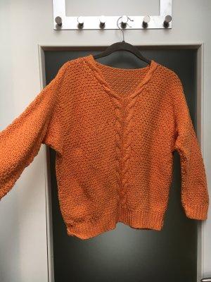 selfmade Warkoczowy sweter pomarańczowy