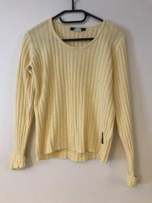 raspberry Coarse Knitted Sweater primrose-yellow cotton