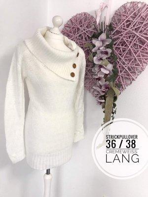 Strickpulli langer Pullover Grobstrick cremeweiss Winter Pulli Fashion