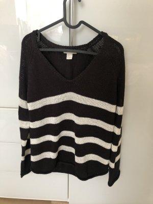H&M Basic Crochet Cardigan white-black