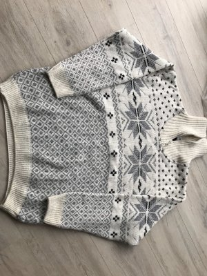 Vintage Maglione norvegese crema-grigio