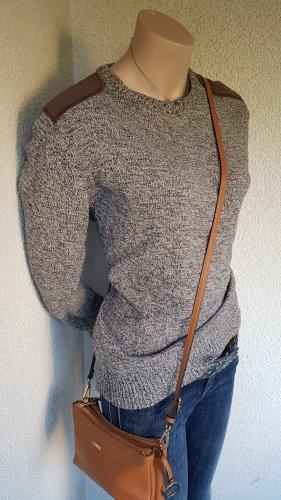 Brave Soul Pull tricoté brun-blanc cassé