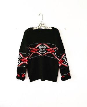 strickpulli • wollpullover • wintermuster • vintage • schwarz • rot • weiss