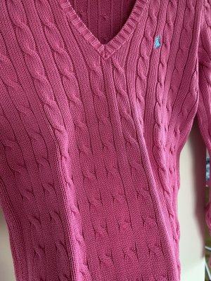 Ralph Lauren Sport Warkoczowy sweter różowy