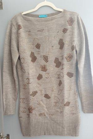 Długi sweter złoto-jasnobrązowy