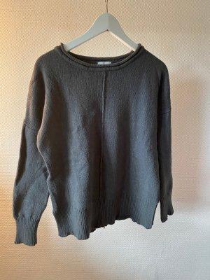 Claire.dk Fine Knit Jumper dark grey-khaki cotton