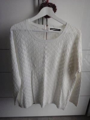 Sweter bez rękawów z cienkiej dzianiny w kolorze białej wełny
