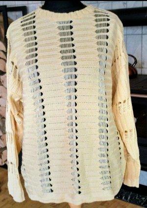 Alba Moda Pull tricoté jaune clair soie