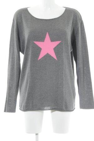 Strickpullover grau-neonpink Casual-Look