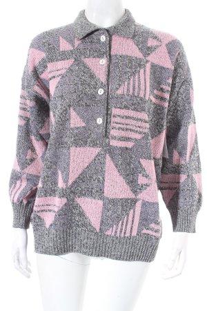 Strickpullover grau-rosa abstraktes Muster Casual-Look