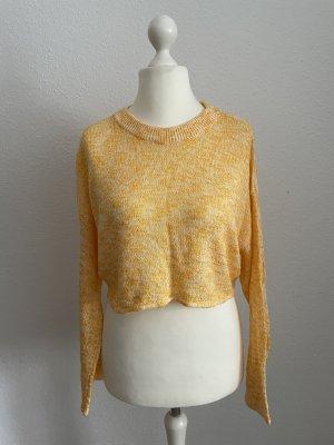 Strickpullover Kurzer Pullover Gelb Meliert