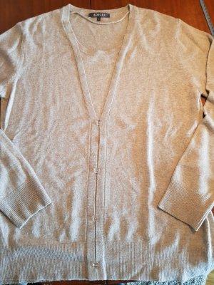 Adagio Cienki sweter z dzianiny jasnoszary-jasnobeżowy