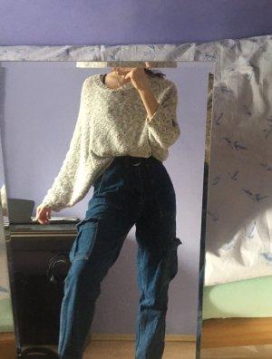 Strickpullover L Oversize Langarm mit Knöpfen am Rücken