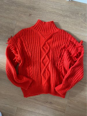 Mango Coarse Knitted Sweater red-brick red