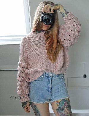 Strickpullover mit Puffärmeln Sweater Sweatshirt Pulli Pullover Strickpulli Oversized Oversize Cropped Crop Winterpulli Winterpullover