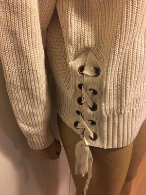 Strickpullover mit Schnürung seitlich Farbe Creme Größe S