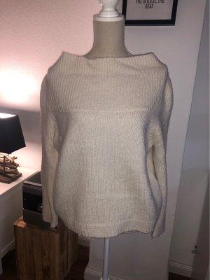 Strickpullover Pullover Pulli beige wollweiß kastig creme Gr. S 34 36