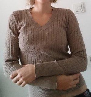 Strickpullover Pullover Zopfmuster beige grau hellbraun Gr. S von Montego