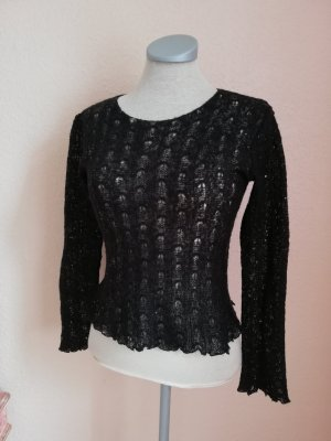 Strickpullover schwarz Pailletten Gr. 34 XS Pullover