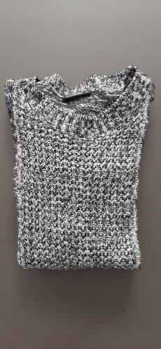 strickpullover, schwarz/weiss 36/38, graumeliert