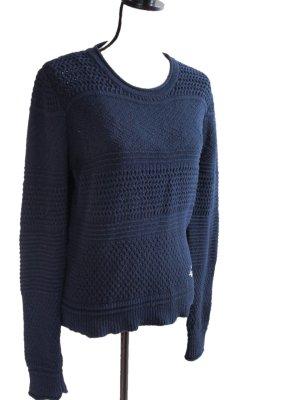 Superdry Pull à gosses mailles bleu foncé laine