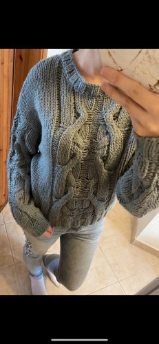 H&M Warkoczowy sweter morski