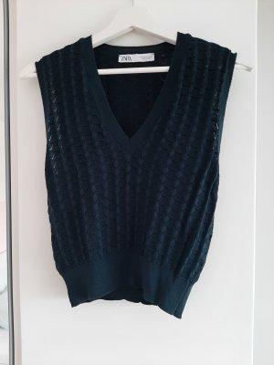 Zara Sweter bez rękawów z cienkiej dzianiny Wielokolorowy