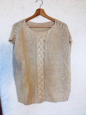 Długi sweter bez rękawów w kolorze białej wełny-kremowy Poliakryl